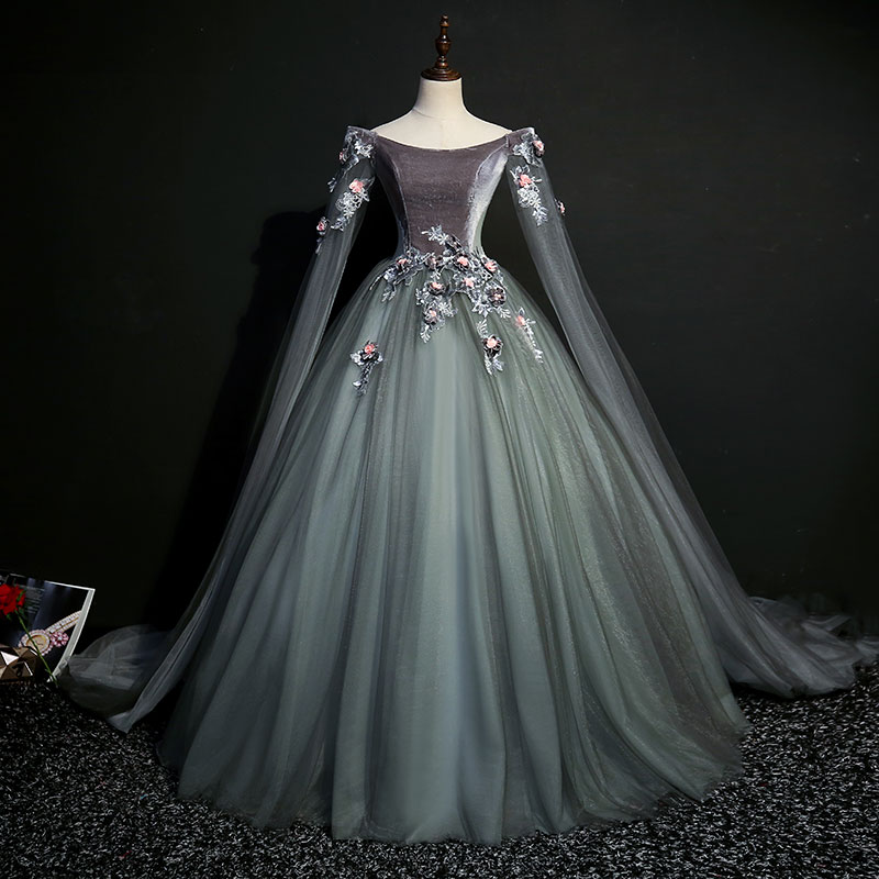 100% Real Dark Grey 18th Century Coronation Cosplay Ball Gown Medieval Dress Renaissance Gown Queen Victorian Belle Ball Gown