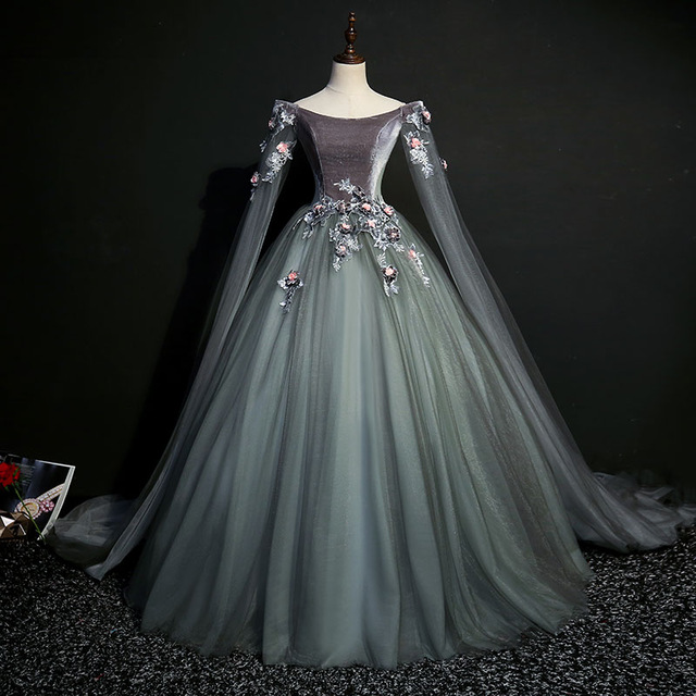 100% real dark grey 18th century coronation cosplay ball gown ...
