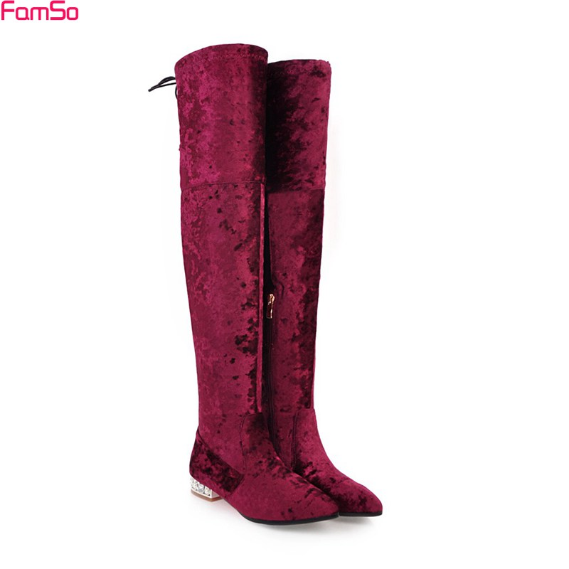 FAMSO 2017 Plus Size34-43 Women Boots Pointed toe Black red White Green Over The knee Boots Winter Keep Warm Snow Boots Shoes genuine leather women over the knee boots pointed toe wedge heels thick warm lady winter long boots plus size 43 44 45 big size