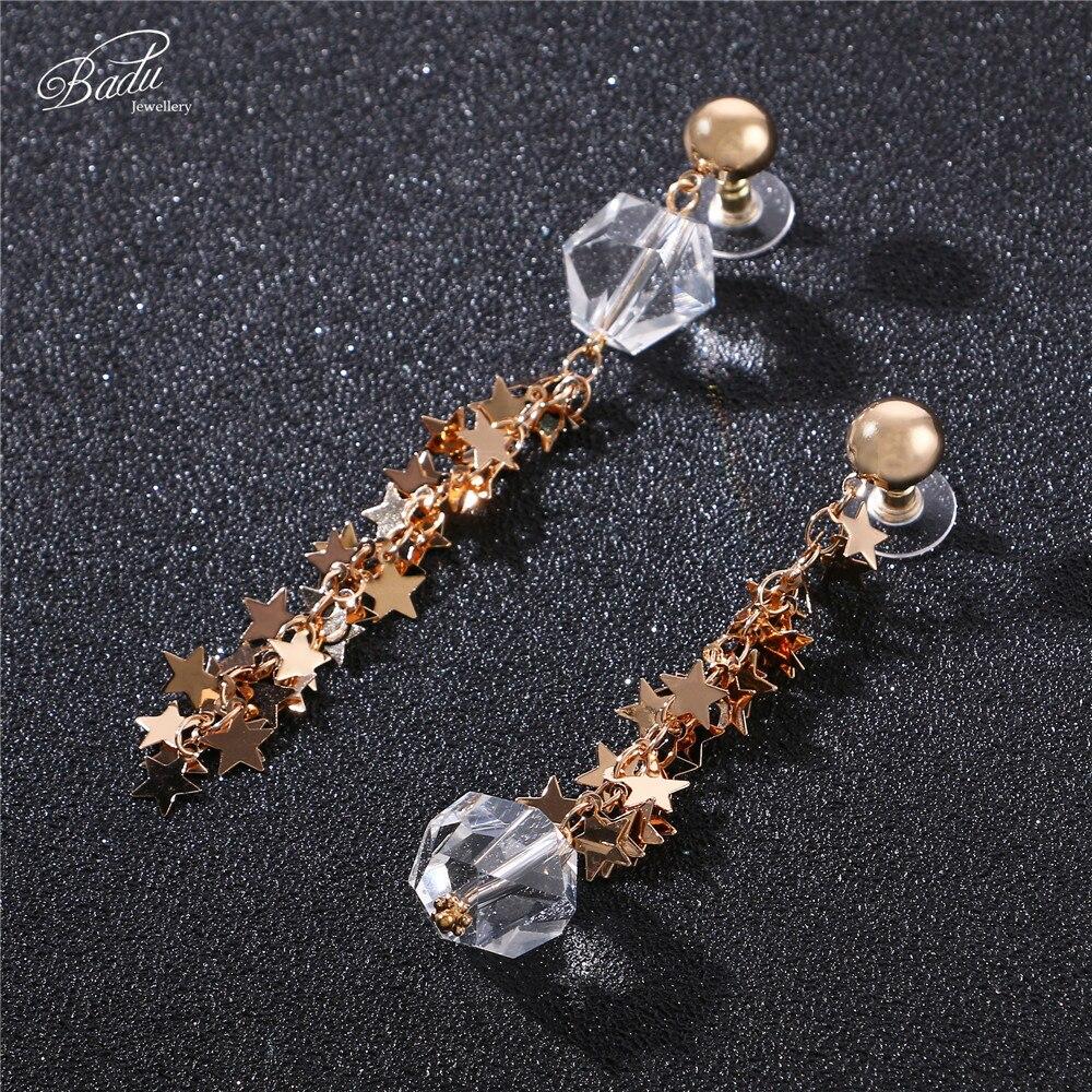 Badu Transparent Crystal Long Drop Earring Golden Zinc Alloy Elegance Jewelry Fashion Earrings Wholesale Dropshipping