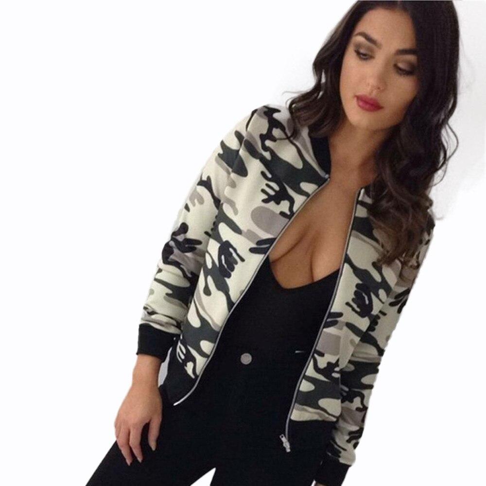 2017 Femmes Casual Slim Camouflage Imprimé floral Automne Bomber Veste Rue  De Mode Tenue Activewear Fermeture À Glissière De Base Manteau Plus La  Taille 728c29c76a2