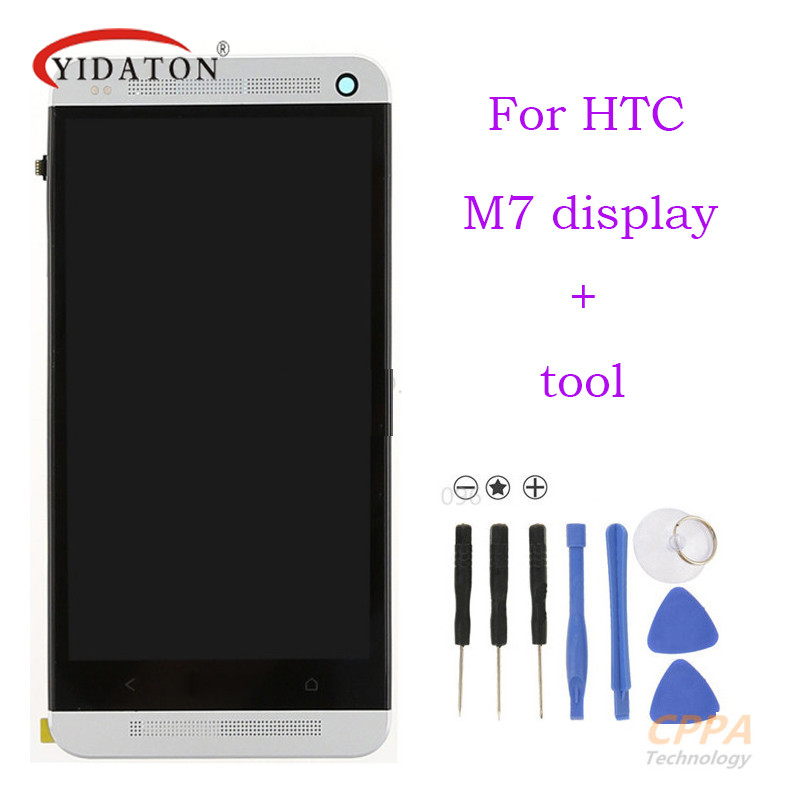 Подробнее о LCD display Touch Screen with Digitizer Full assembly +bezel frame  repair parts For HTC ONE M7 free shipping new lcd for htc one m9 lcd touch screen display with digitizer full assembly free shipping
