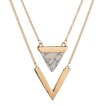 Marble Necklace Jewelry White Black Faux Stone 2 Layer Choker hain V Shape Geometric Triangle Pendant ON Neck Women Accessories noble faux crystal triangle choker necklace for women