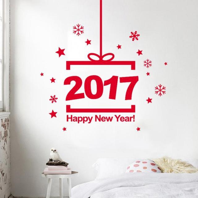 Creative Beautiful Smart New Year 2017 Merry Christmas Wall Sticker Home  Shop Windows Decals Decor Home Decor Vinilos Decorativo