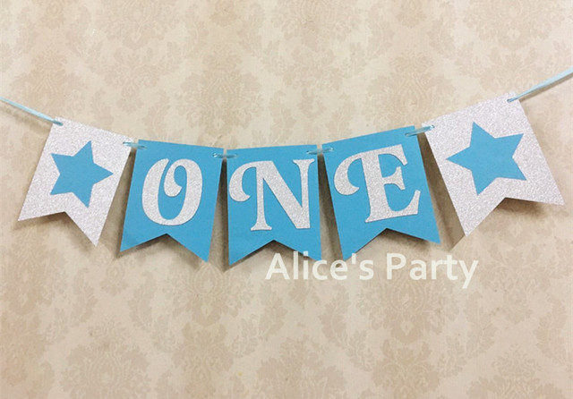 Hot Silver Blue Theme ONE Bunting 1st Birthday Party Decoration Little Stars Banner Boy Highchair