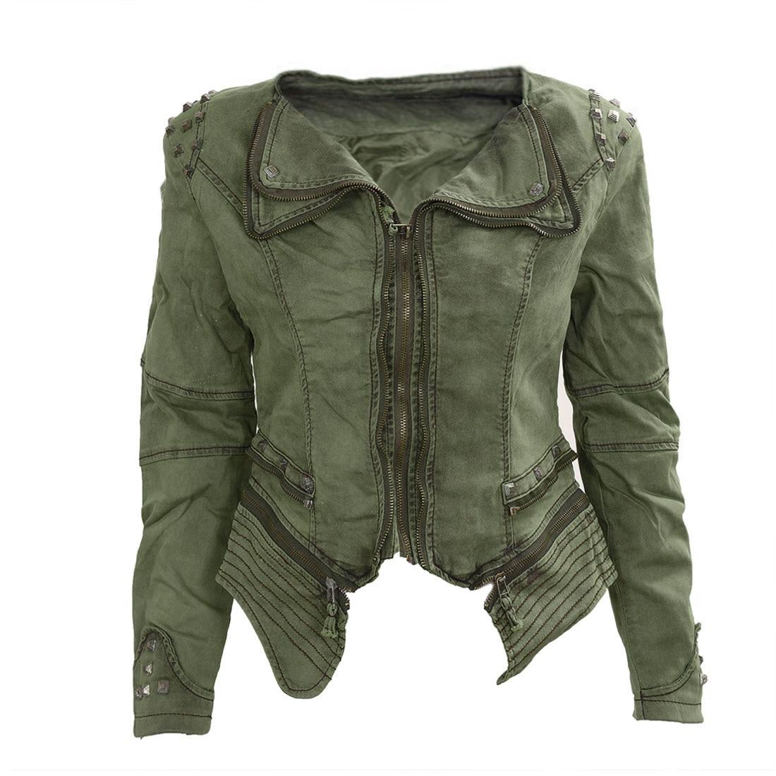 Women Denim Jacket Punk Style Rivet Studded Lapel Coat 2