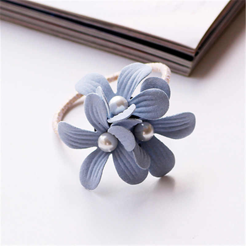Womens Girls Sweety Three Floral Scrunchy Elastic Hair Bands Flower Rubber Bands Hair Rings Ropes Accessories Ornaments