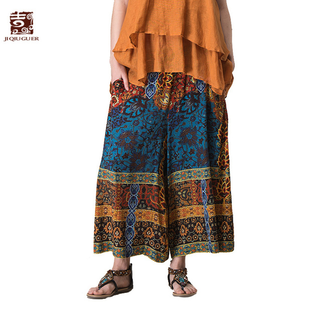 1a5413cc32e Jiqiuguer Women Boho Print Wide Leg Pants Vintage Plus Size Elastic Waist  Floral Loose Casual Summer Palazzo Trousers G172K008