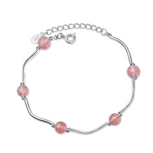 LUKENI Charm Crystal Pink Ball Girl Bracelets Jewelry Latest 925 Sterling Silver For Women Birthday Christmas Lovers