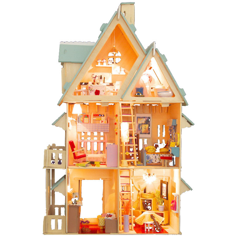 ФОТО Free Shipping   diy doll house model multi-layer lamp millenum dollhouse  gift