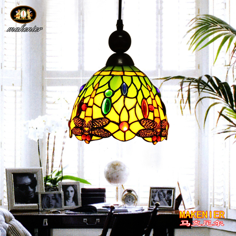 Makenier Tiffany Style Stained Glass Green Dragonfly Vintage Small Pendant Lamp, 7 Inches Lampshade 16inch antique agate jade dragonfly stained glass lampshade tiffany pendant lamp country style bedside lamp e27 110 240v