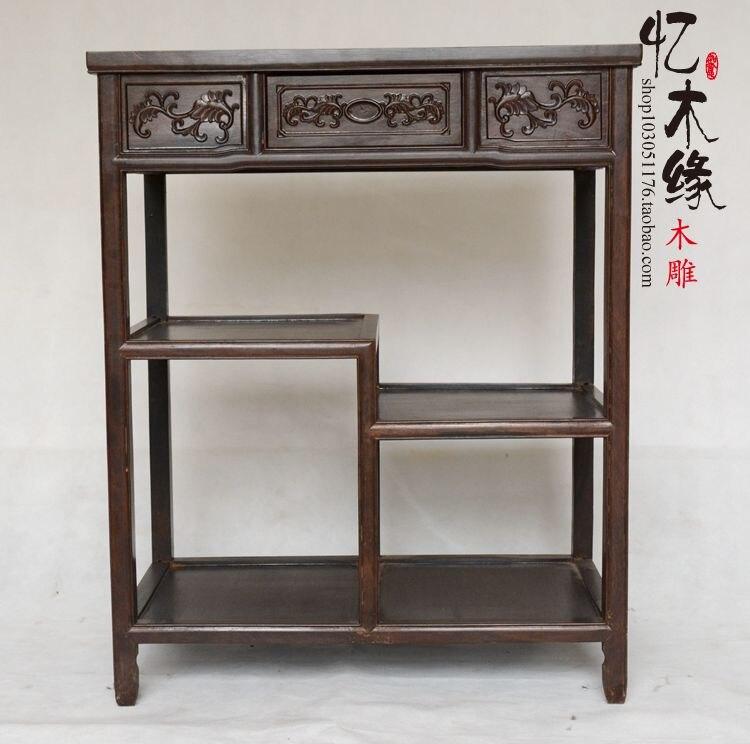 Support téléphone buffet acajou table bois de rose chinois ébène bonsaï pot de fleurs rack thé rangement casier