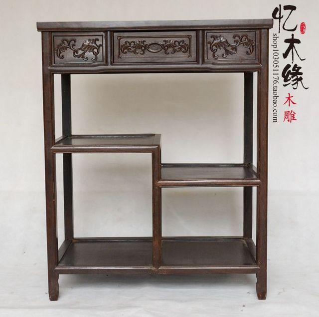 Telephone Stand Mahogany Sideboard Table Chinese Rosewood Ebony Bonsai  Flowerpot Rack Tea Storage Locker