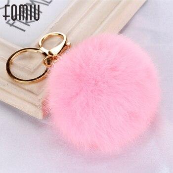 100PCS/LOT Pom Pom Keychains 100% Genuine Rabbit Fur Ball Key Chain Car Key Holder Girl Fourrure Pompon Women Bag Charms Jewelry