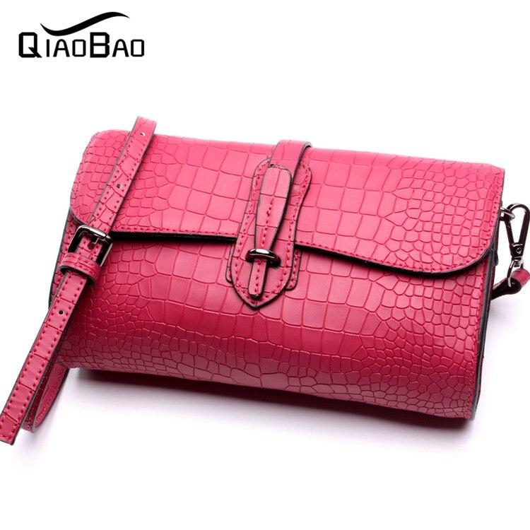 ФОТО QIAO BAO Women 100% Crocodile Leather Bag Real Genuine Leather Handbags Woman Vintage Hand bag Brands Ladies Black Shoulder Bag