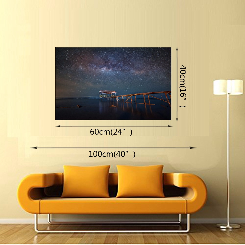 1 Panel Free shipping HD Printed Seascape Picture Canvas Painting Night Scene Landscape Wall Art room Home Decoration Framed in Painting Calligraphy from Home Garden