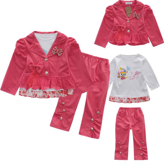 3 unids Toldder Ropa Del Bebé Establece Chaqueta Rompevientos + Encaje de manga larga de La Camiseta + Pantalones Niños Niñas Ropa traje 021
