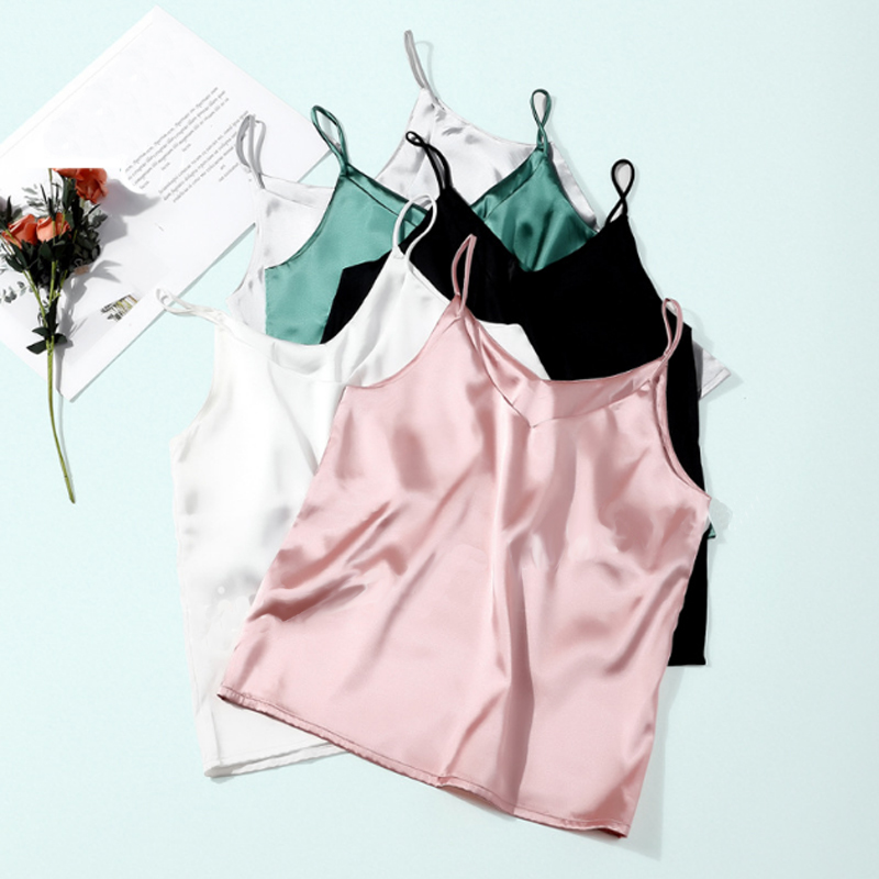 2019 New   Tank     Top   Women Sleeveless   Top   Sexy V-neck Sling Vest Female Summer Wear Thin Section Loose Satin Silk   Top   Blouse