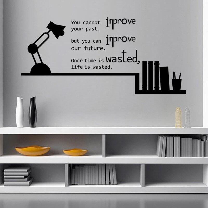 Boek Planken Tafellamp Inspiratie Engels Citaat Muurstickers Home ...