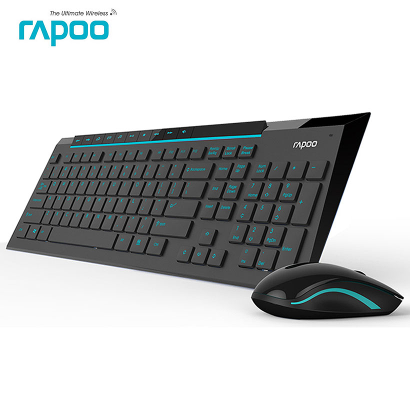 rapoo 8200p silent wireless keyboard and mouse combo with waterproof multimedia keypad for. Black Bedroom Furniture Sets. Home Design Ideas