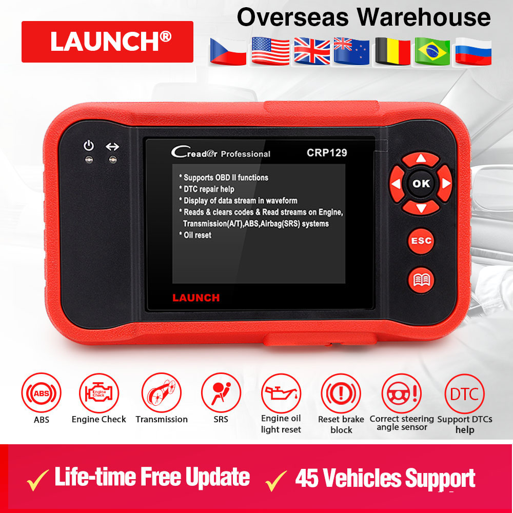 Launch X431 Creader CRP129 ENG AT ABS SRS EPB SAS Oil Service Light resets Code reader