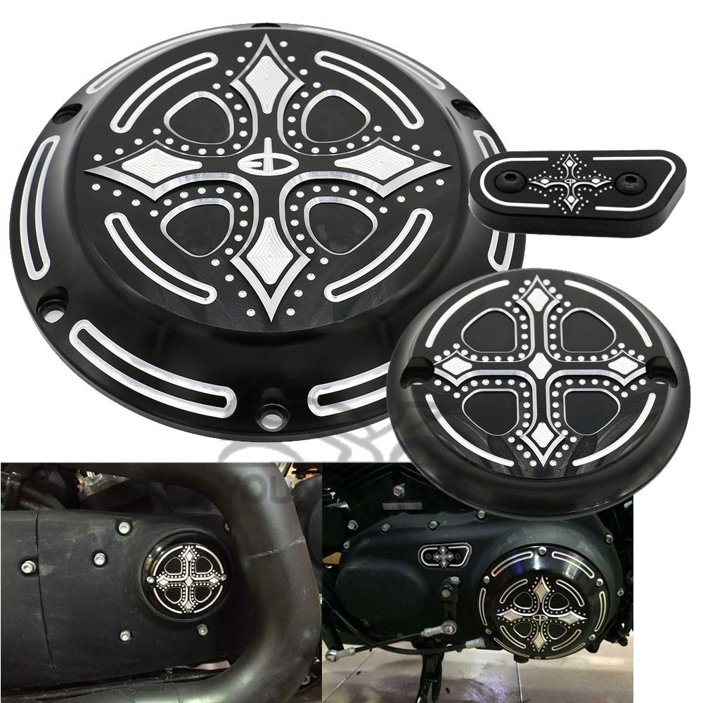 Black CNC Aluminum Dark Fashion Cross Derby Timing Timer Cover Ornamental Guard for Harley Davidson Sportster Iron XL 883 1200 mtsooning timing cover and 1 derby cover for harley davidson xlh 883 sportster 1986 2004 xl 883 sportster custom 1998 2008 883l