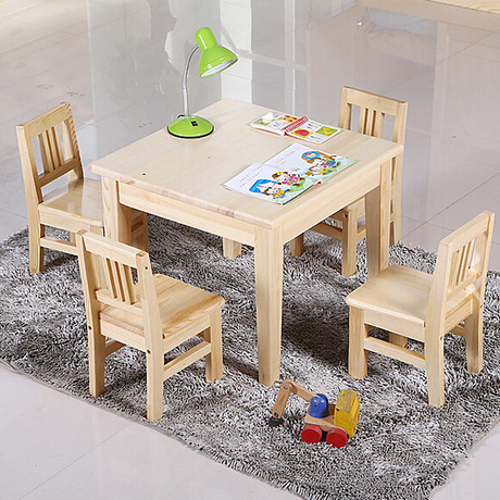 Children Furniture Sets 1 desk+4 chairs sets pine solid wood kids Furniture sets kids chairs and study table set square table