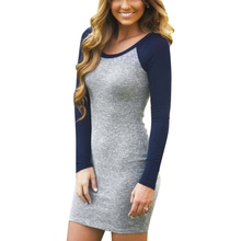 Female Hot Sale Vintage Style Sexy Clothing Vestidos Newest Grey and Blue Long Sleeve Color Block Round Neck Bodycon Dress