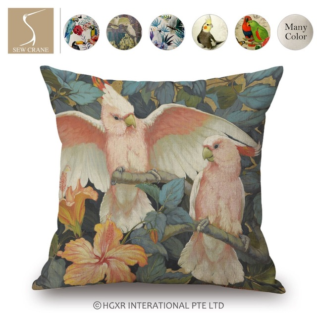 SewCrane Pink Parrot White Peacock Dance Peacock Decorative Throw Delectable Sewing Decorative Throw Pillows
