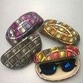 Grande Caixa de Óculos De Sol Caso Difícil Para As Mulheres Paisley PU LEATHER Eyewear Acxessories Recipiente Para Óculos De Sol gafas de sol dura funda