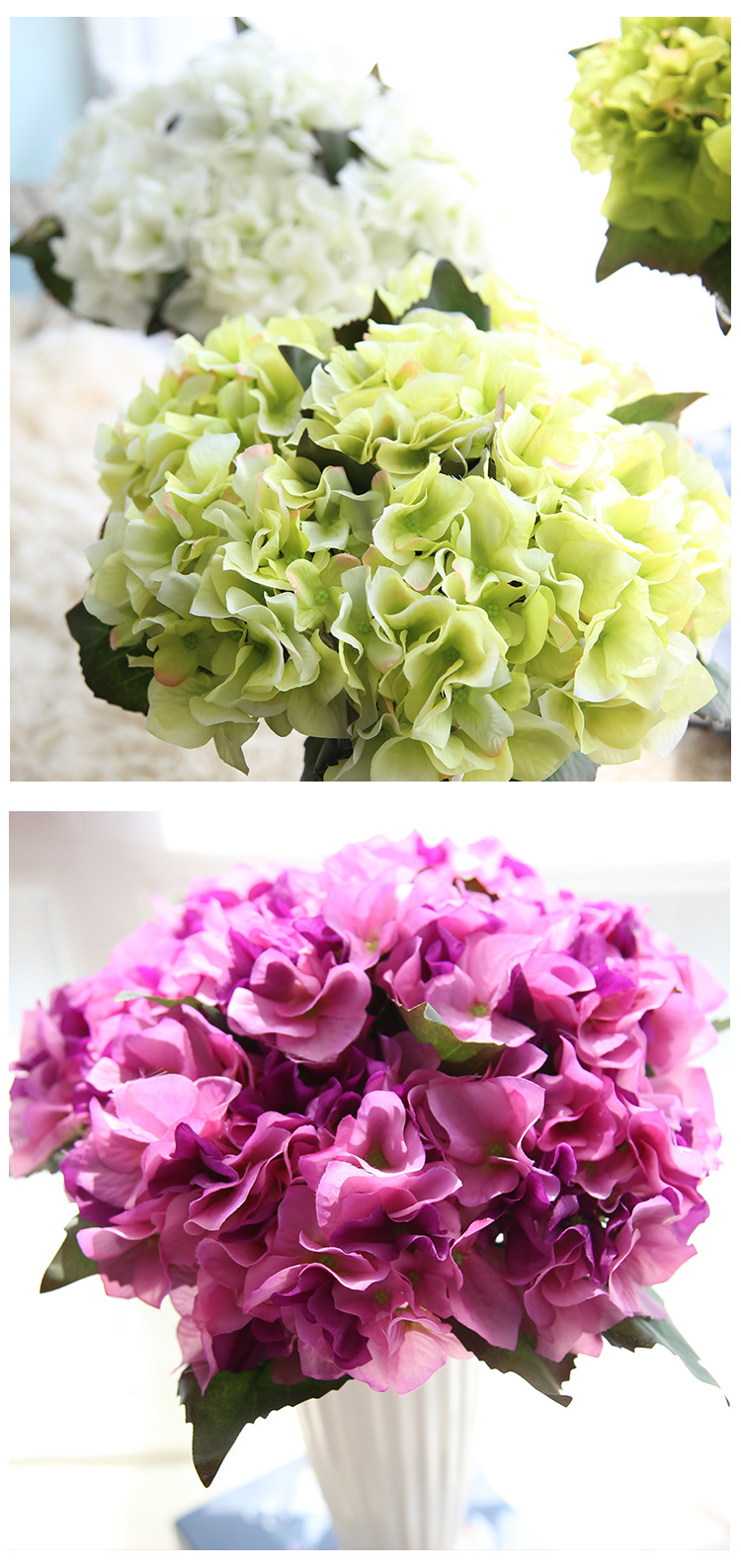 Factory Direct Sale 2pcslot Multi Color Artificial Hydrangea Silk