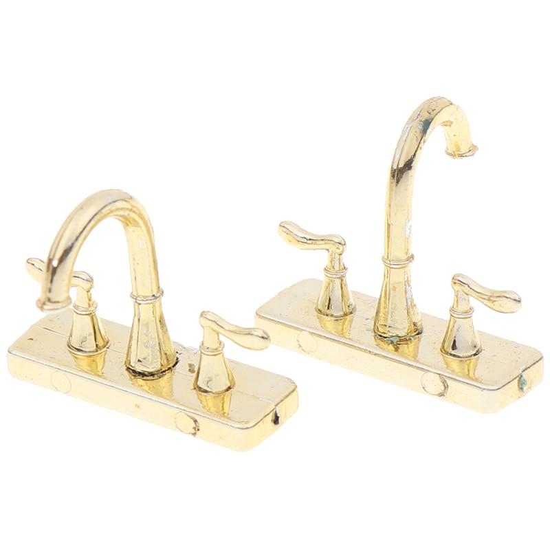 2pcs Dollhouse Faucet Simulation Model Furniture Toys 1:12 Metal Water Tap Faucet Dollhouse Miniature Bathroom Accessories