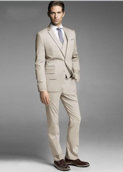 (Chaqueta + Pantalones + Chaleco) Por encargo Dos botones Beige Novio - Ropa de hombre - foto 2