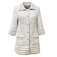New Filled with small white pearl tweed coat lapels buttons coat long money in female