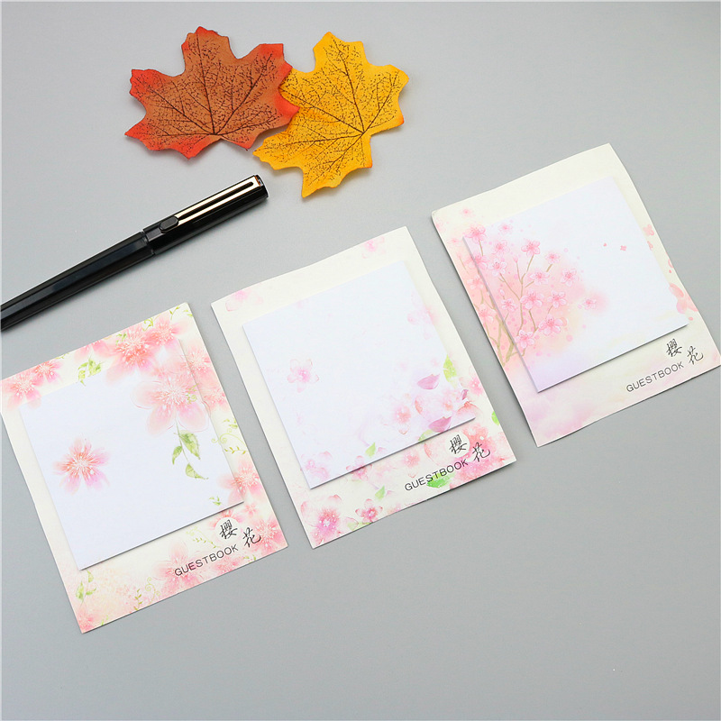 3pcs Sakura Kawaii Memo Pad  Cute Creative Paper Sticky Notes Office Memo Massage Sticker