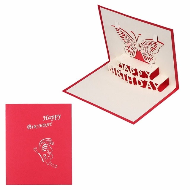3d Pop Up Card Butterfly Happy Birthday Greeting Cards Invitations