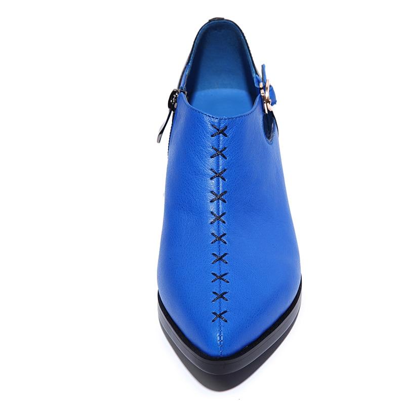 Casual Cuero Gruesos Con Señaló Designer Femenino Retro Pu La Alto Azul Hebilla Shoes Cremalleras Zapatos Tacón Costura Plataforma Verano De Británico blanco 2016 xq6wRXUpvT