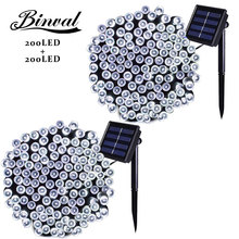 hot deal buy binval solar powered led string lights 200 led starry holiday lights indoor outdoor lighting led decoration lights 2 pieces