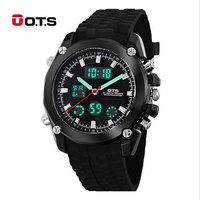 OTS Top Brand Luxury Sport Watch Auto Date Day LED Alarm Black Rubber Band Analog Quartz