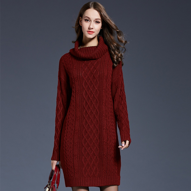 eef40fec24 Knitted Sweater Dresses Oversize Casual Long Sleeve Turtleneck Slim Bodycon  Dress 2018 Autumn Winter Women