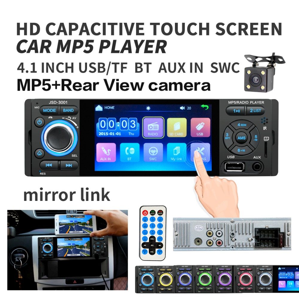 4 Touch Screen Bluetooth Car Radio 1 Din Mirror Link Autoradio Stereo Audio MP5 Video 4 LED Rear View Camera usb aux Player image