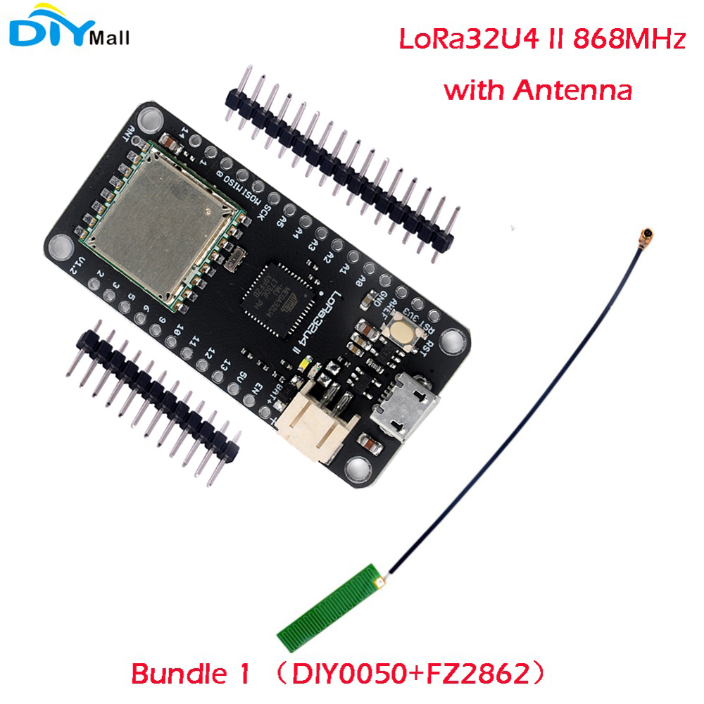 DIYmall LoRa32u4 II Lora Conseil de Développement Module LiPo Atmega328 SX1276 HPD13 868/915 MHz avec Antenne DIY0050/DIY0051N + FZ2862