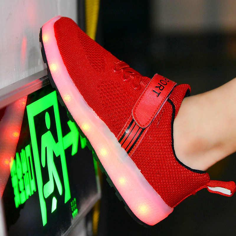 2019 Nieuwe 25-37 USB Charger Gloeiende Sneakers Led Kinderen Verlichting Schoenen Jongens/Meisjes verlichte Lichtgevende Sneaker