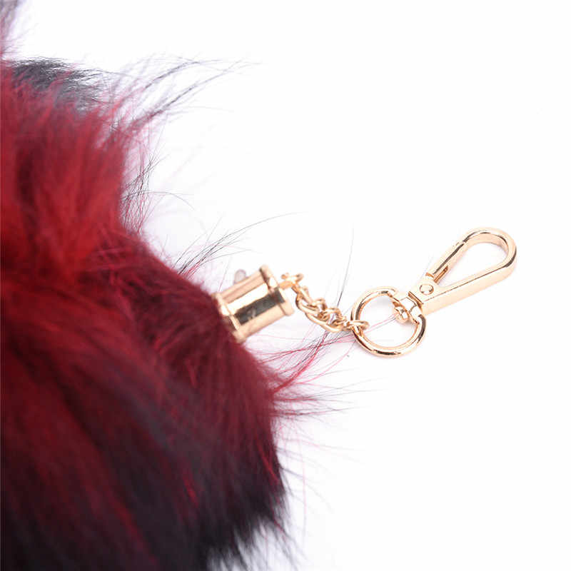 1 Pcs Mulheres Fox Fur Cauda Tassel Bag Tag Charme Acessório Bolsa Pingente Chaveiro Grande 4 Cores