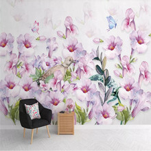 3D wallpaper creative Nordic watercolor hand-painted floral background wall professional production mural photo