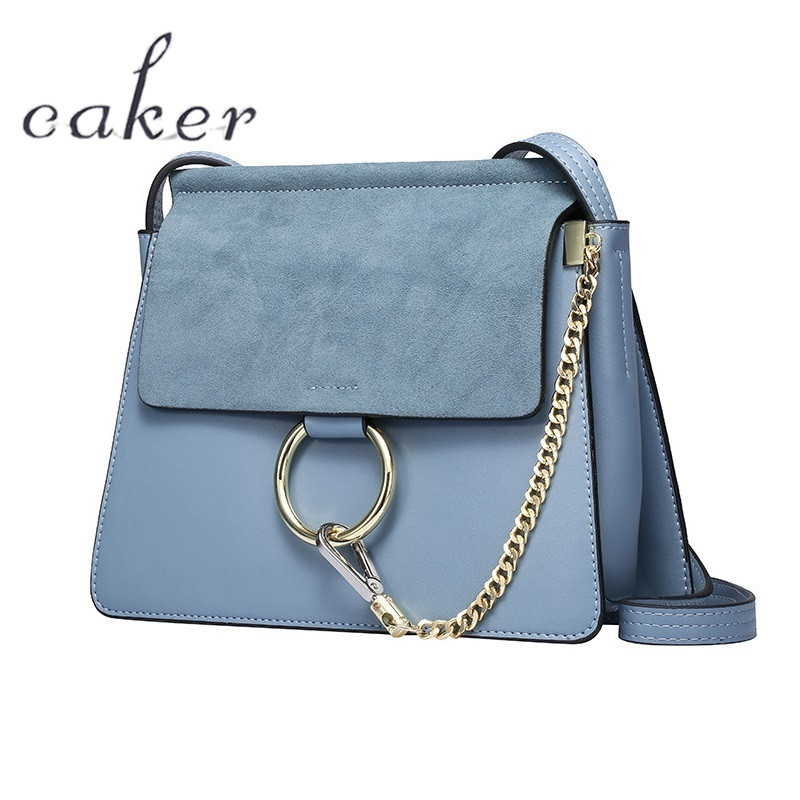 Caker Brand 2017 Women Top Real Cow Genuine Leather Handbags Lady Blue Grey Scrub Ring Shoulder Bags Casual Flap All-Match Totes  цена и фото