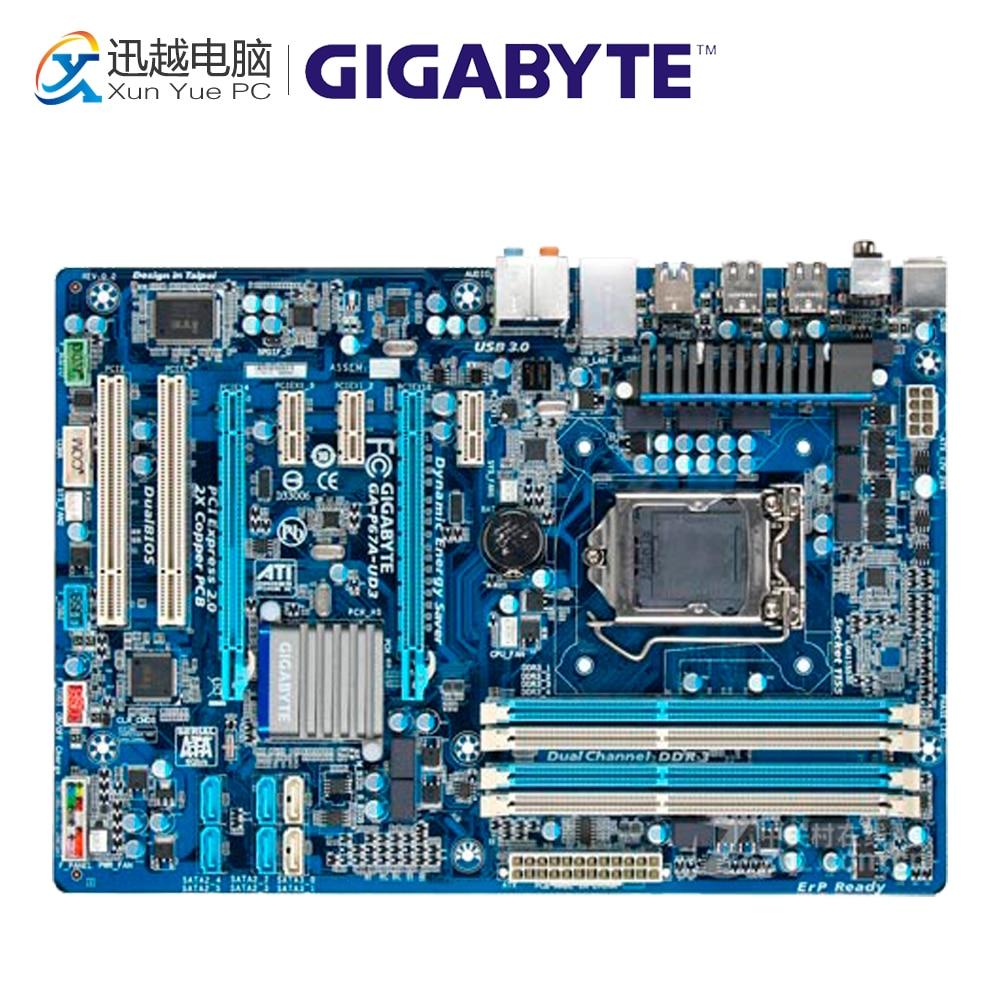 Gigabyte GA-P67A-UD3 Desktop Motherboard P67A-UD3 P67 LGA 1155 i3 i5 i7 DDR3 32G SATA3 ATX original desktop motherboard for gigabyte ga p67a ud3p b3 ddr3 lga1155 p67a ud3p b3 32gb p67 desktop motherboard free shipping