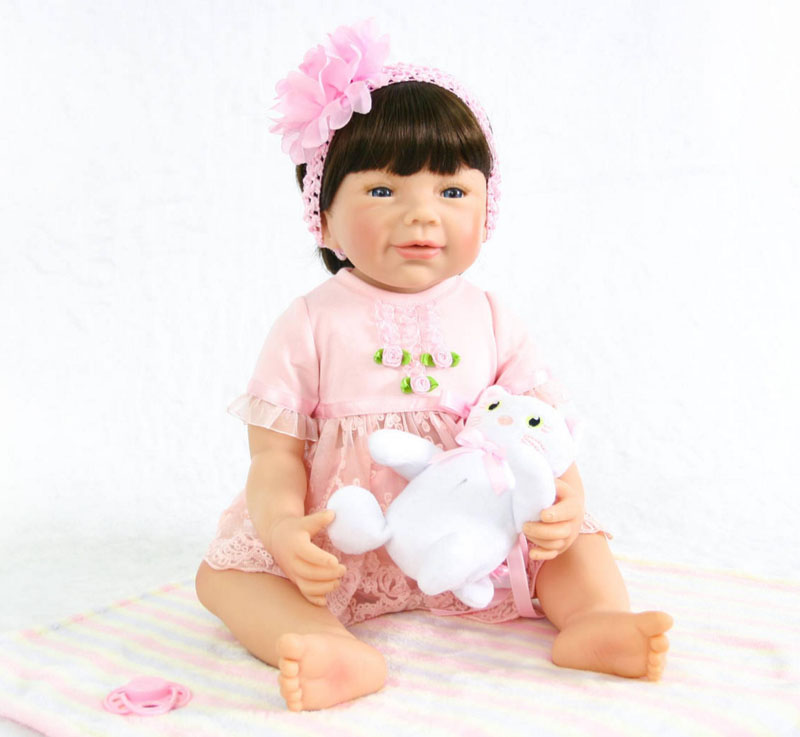 55cm Full Body Silicone Reborn Baby Doll For Girls Vinyl Newborn Princess Babies Birthday Gift Child Bathe Toy Accompanying Doll 40cm full body silicone vinyl reborn baby doll 16inch newborn girls babies doll bath toy child birthday gift present child play