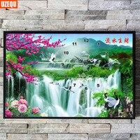 UzeQu Full Diamond Embroidery Wall Clock Waterfall Mountain DIY Diamond Painting Cross Stitch Watch Diamond Mosaic