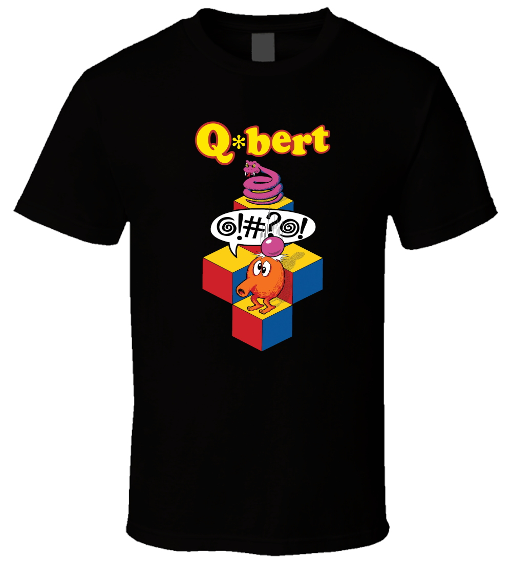 Funny printed brand t shirt men new summer Qbert Retro Video Game Male Fashion Printed Soft Brand Clothing men Summer